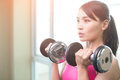 Sport Woman With Dumbbell Royalty Free Stock Photo - 90697295