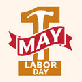 1 May. Labor Day.Vector Illustration With A Orange Number And A Red Ribbon On A Light Background. Stock Images - 90700314