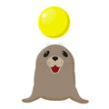 Fur Seal. Circus Show With Animals. Sea Dog Plays With A Yellow Ball. Royalty Free Stock Image - 90716896