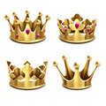Gold 3d Crown Vector Set. Royal Monarchy And Kings Attributes Stock Images - 90719804