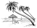 Ocean Or Sea Beach With Palms, Umbrella, Chaise Longue And Yachts. Hand Drawn Seaside View. Royalty Free Stock Photos - 90719888