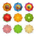 Top View Picture Of Summer Beach Umbrella For Relaxation. Colorful Vector Set Isolate On White Stock Images - 90726174