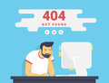 Man With Pc Sitting At Home 404 Page Not Found Error Royalty Free Stock Image - 90726476