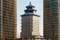 Chinese-style Building Beijing Tower Between Two Talan Towers On A Sunny Day In Astana, Kazakhstan Stock Images - 90738724