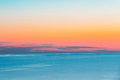 Calm Sea Or Ocean And Colorful Sunset Or Sunrise Sky Background. Stock Image - 90746331