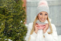 Blonde Girl In Pink Hat Smiling Broadly In Winter Royalty Free Stock Images - 90746339