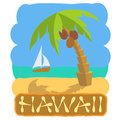 Tropical Island With Palm Tree And Boat. Vector Illustration Icon For Traveling. Stock Photo - 90751690