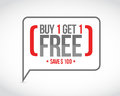 Buy One Get One Free Sale Message Concept Stock Photography - 90766422