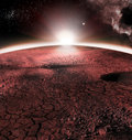 The Abstract Red Landscape Of Mars Planet. Looks Like Cold Desert On Mars. A Huge Field Of Ice Royalty Free Stock Photo - 90792695