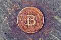 Rusty Bitcoin Coin Royalty Free Stock Photography - 90803517