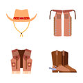 Wild West Elements Set Icons Cowboy Rodeo Equipment And Different Accessories Vector Illustration. Royalty Free Stock Photos - 90831138