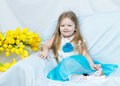 Little Girl With Bouquet Of Tulips Stock Photography - 90837212