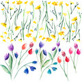 Tender Delicate Beautiful Bright Sophisticated Spring Colorful Textile Yellow Wildflowers  And Red Pink Violet Tulips And Blue Blu Stock Photos - 90857263