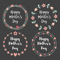 Happy Mothers Day With Flowers Greeting Card Set. Laurel Wreath, Floral Wreath. Vector Illustration. Royalty Free Stock Photo - 90857295