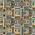 Seamless Vector Pattern. Geometrical Background With Hand Drawn Decorative Tribal Elements In Vintage Brown Colors. Print With Eth Royalty Free Stock Photo - 90870505