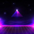 Retro Futuristic Landscape, Glowing Cyber World With Grid And Pyramid Shape. Sci-fi Background 80s Style. Royalty Free Stock Photo - 90876755