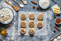 Cinnamon Rolls Or Cinnabon Homemade Recipe Raw Dough Preparation Sweet Traditional Dessert Buns Pastry Food Royalty Free Stock Photos - 90899778