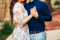 Bride And Groom At Wedding Day Walking Outdoors On Spring Nature Royalty Free Stock Image - 90901766