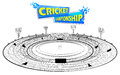 Stadium Of Cricket With Pitch For Champoinship Match Royalty Free Stock Images - 90920389