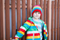 Outdoor Fashion Portrait Of Adorable Little Kid Boy Wearing Colorful Clothes Stock Image - 90922411