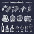 Vector Set Of Vintage Brewery Hand Sketched Elements,barrel, Bottle,glass,herbs And Plants. Retro Beer Icons Collection. Stock Images - 90923054