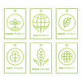 Vector Green Set Of Labels In Linear Style For Organic Products, Food And Cosmetics. Stock Photos - 90929013