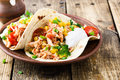 Slow Cooker Chicken Taco With Corn Stock Image - 90941181