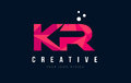 KR K R Letter Logo With Purple Low Poly Pink Triangles Concept Royalty Free Stock Images - 90949549