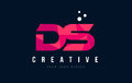 DS D S Letter Logo With Purple Low Poly Pink Triangles Concept Stock Photography - 90949672