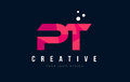 PT P T Letter Logo With Purple Low Poly Pink Triangles Concept Royalty Free Stock Photography - 90949857