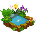 Beautiful Pond With Snail, Fish And Flowers Royalty Free Stock Photography - 90954717