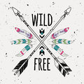 Vector Grunge Illustration With Crossed Ethnic Arrows, Feathers Royalty Free Stock Photos - 90969778