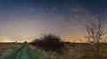 Night Sky Stars With Milky Way Over Path Through Fields Stock Photography - 90973392