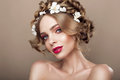 Fashion Beauty Model Girl With Flowers Hair. Bride. Perfect Creative Make Up And Hair Style. Hairstyle. Royalty Free Stock Image - 90989796