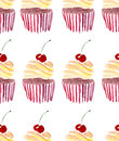 Bright Beautiful Tender Lovely Cute Delicious Tasty Yummy Summer Dessert Two Cupcakes With Red Cherry Pattern Watercolor Stock Photo - 90991730