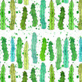 Cute Wonderful Mexican Tropical Floral Summer Green Pattern Of A Colorful Cactus Aloe Vera Vertical Pattern Paint Like Child Water Royalty Free Stock Image - 90992256