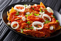 Mexican Food Fried Tortillas With Chicken And Tomato Salsa Close Royalty Free Stock Photography - 90997507