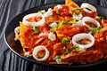 Hot Mexican Food Chilaquiles With Chicken Close-up On A Plate. H Stock Images - 90997514