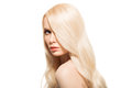 Portrait Of Beautiful Young Blond Woman With Long Wavy Hair. Stock Image - 90998991