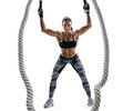 Athletic Woman Working With Heavy Ropes. Royalty Free Stock Photo - 90999325