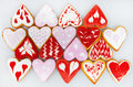 Valentine`s Day Cookies. Heart Shaped Cookies For Valentine`s Day.Red And Pink Heart Shaped Cookies. Valentine`s Day Background. R Stock Image - 91016931