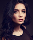 Beautiful Brunette Makeup Woman With Pink Lipstick And Long Curl Stock Photography - 91020132