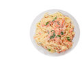 Spaghetti With Salmon Creamy Sauce. Top View. Isolated Stock Images - 91023954
