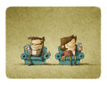 Illustration Of Couple Addicted To Mobil Stock Images - 91026454
