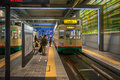 Many People Using Centram Tram In The Toyama Station At Night. Royalty Free Stock Photography - 91040367