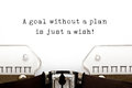 A Goal Without A Plan Is Just A Wish Stock Photography - 91073152
