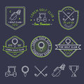 Vector Golf Logo Set. Sports Club Linear Illustrations Collection For Icons, Badges And Labels. Royalty Free Stock Images - 91095919