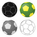 Green Soccer Ball Icon In Cartoon Style Isolated On White Background. Brazil Country Symbol Stock Vector Illustration. Royalty Free Stock Photography - 91096787