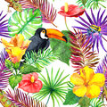 Toucan, Gecko, Tropical Leaves, Exotic Flowers. Seamless Jungle Pattern. Watercolor Royalty Free Stock Photography - 91119617