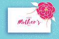 Mother`s Day. Pink Floral Greeting Card. Paper Cut Peony Flower.Rectangle Frame. Origami Women`s Day. Text. Stock Photo - 91121320